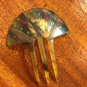 👑Fan Hair-Comb 1930's Art Deco Tortoise Shell